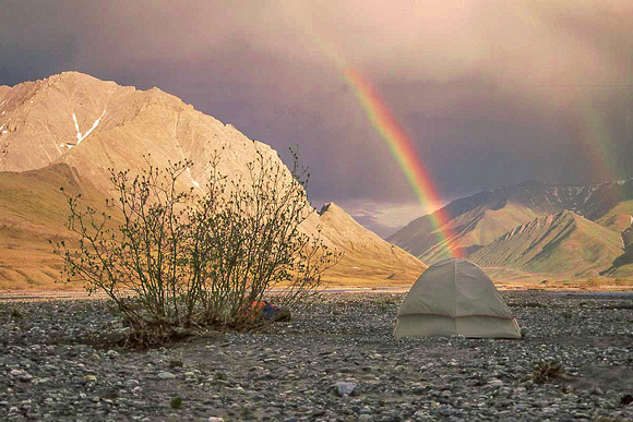 Camping under rainbow, Arctic National Wildlife Refuge, Alaska 11