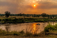Mara River sunset, with smoke from brush-clearing fires 1653